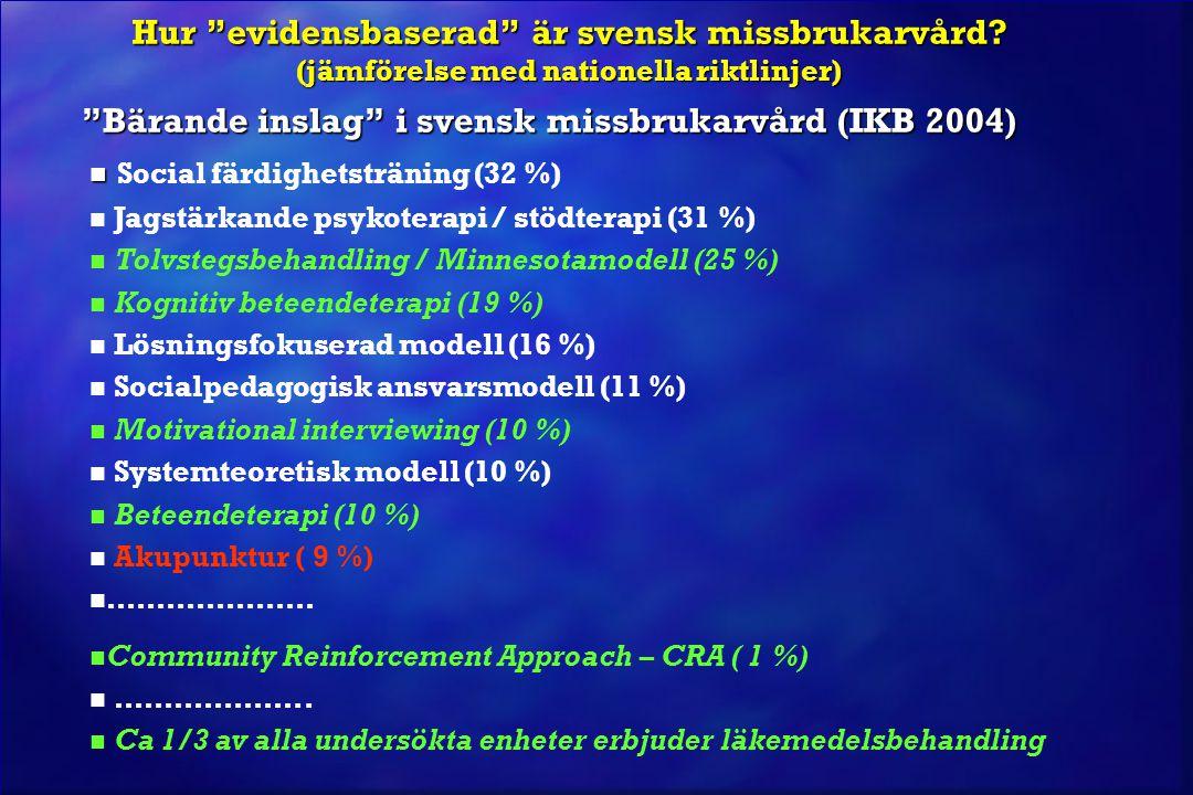 """Hur """"evidensbaserad"""" är svensk missbrukarvård? (jämförelse med nationella riktlinjer) """"Bärande inslag"""" i svensk missbrukarvård (IKB 2004) Social färdi"""