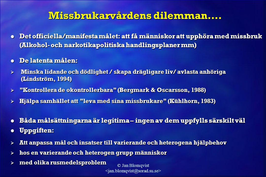 © Jan Blomqvist Missbrukarvårdens dilemman…. l Det officiella/manifesta målet: att få människor att upphöra med missbruk (Alkohol- och narkotikapoliti