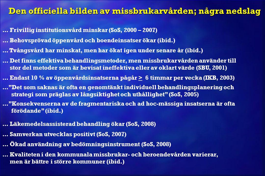 Den officiella bilden av missbrukarvården; några nedslag … Frivillig institutionsvård minskar (SoS, 2000 – 2007) … Behovsprövad öppenvård och boendein