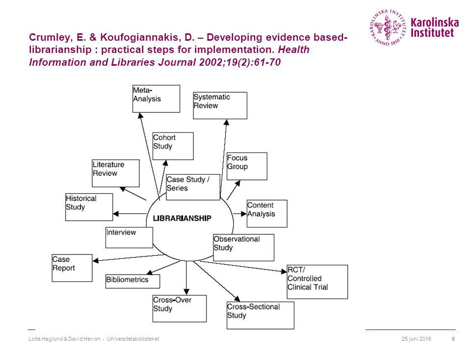 25 juni 2015Lotta Haglund & David Herron - Universitetsbiblioteket7 Hinder för kritiskt analytiskt tänkande  Avsaknad av kunskap om forskningsmetodik  Svårigheter att tolka figurer och diagram oberoende av texten  Avsaknad av kunskap om statistiska metoder och förståelse av statistisk signifikans