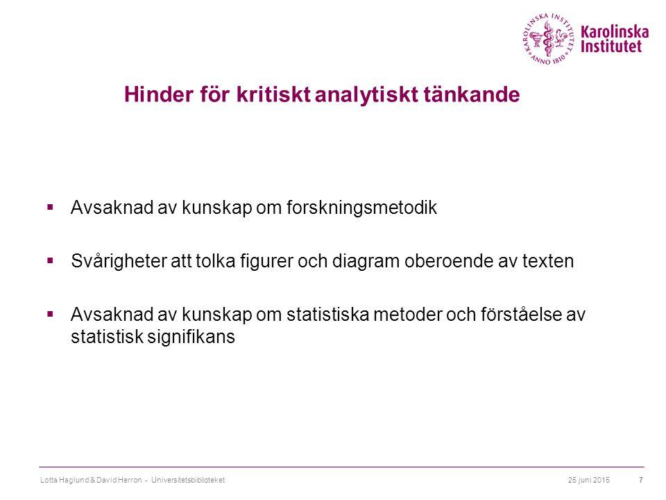 25 juni 2015Lotta Haglund & David Herron - Universitetsbiblioteket7 Hinder för kritiskt analytiskt tänkande  Avsaknad av kunskap om forskningsmetodik