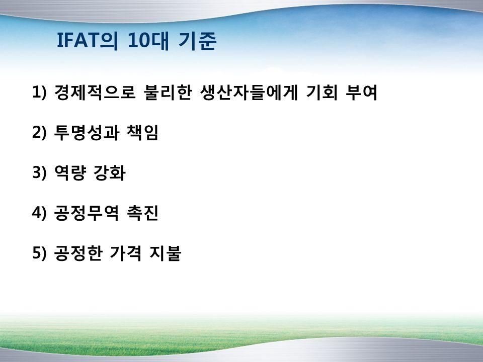 IFAT의 10대 기준 1) 경제적으로 불리한 생산자들에게 기회 부여 2) 투명성과 책임 3) 역량 강화 4) 공정무역 촉진 5) 공정한 가격 지불