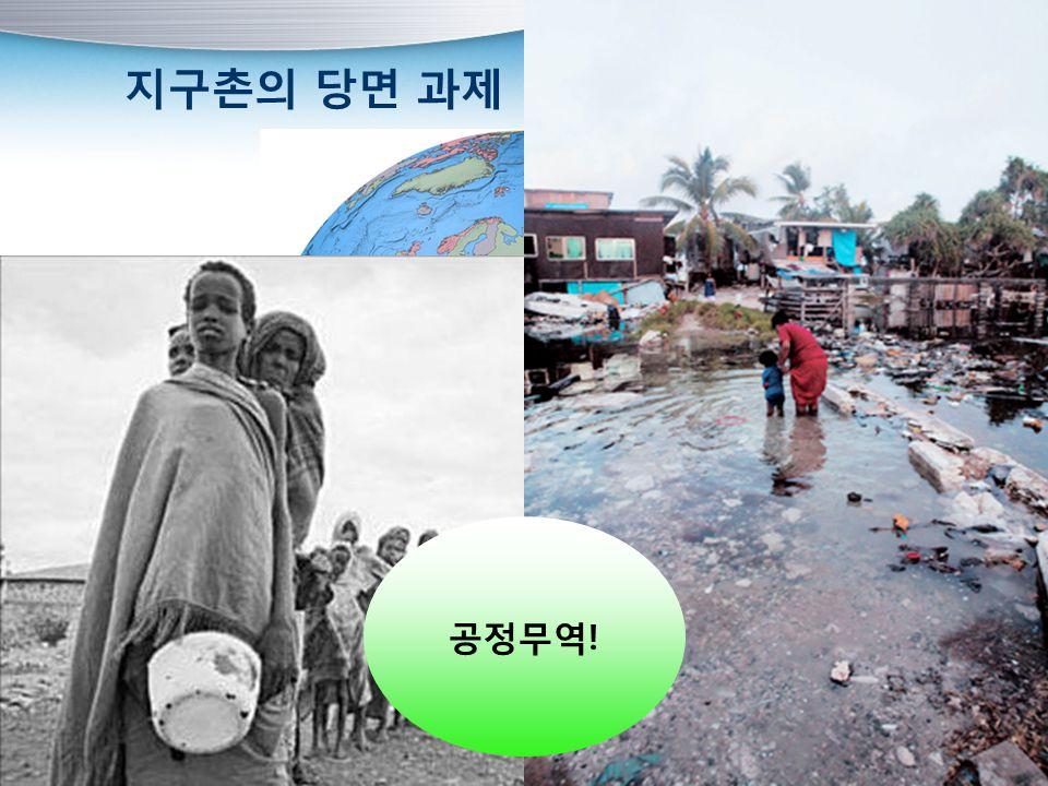 지구촌의 당면 과제 환경 문제빈곤 문제 공정무역!