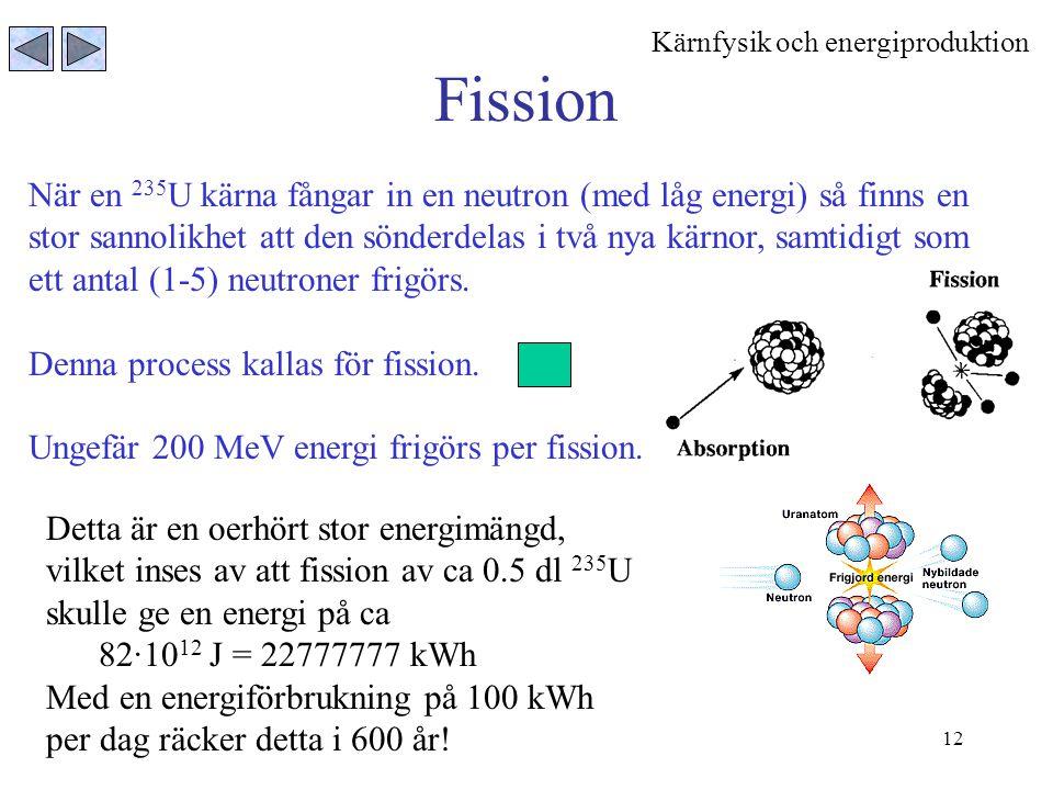 12 Fission När en 235 U kärna fångar in en neutron (med låg energi) så finns en stor sannolikhet att den sönderdelas i två nya kärnor, samtidigt som e