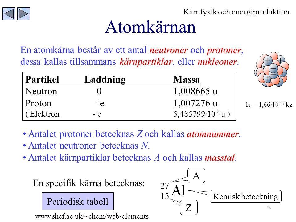 13 Kedjereaktion De neutroner som frigörs vid fission av 235 U kan användas till att fissionera nya 235 U kärnor, härvid produceras nya neutroner som kan användas ….