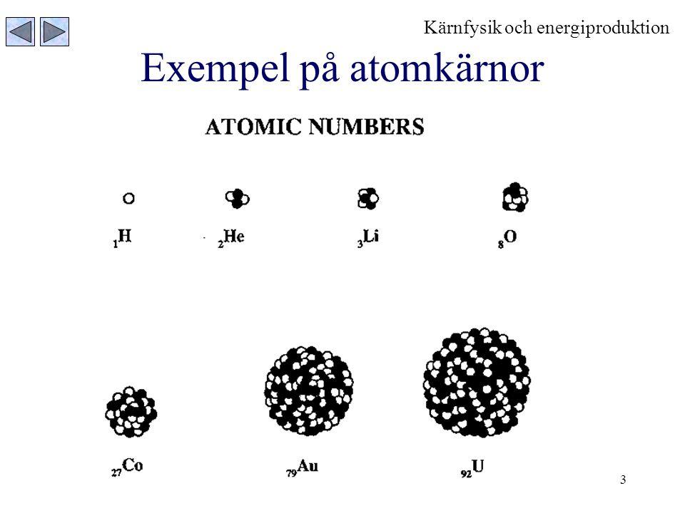3 Exempel på atomkärnor Kärnfysik och energiproduktion