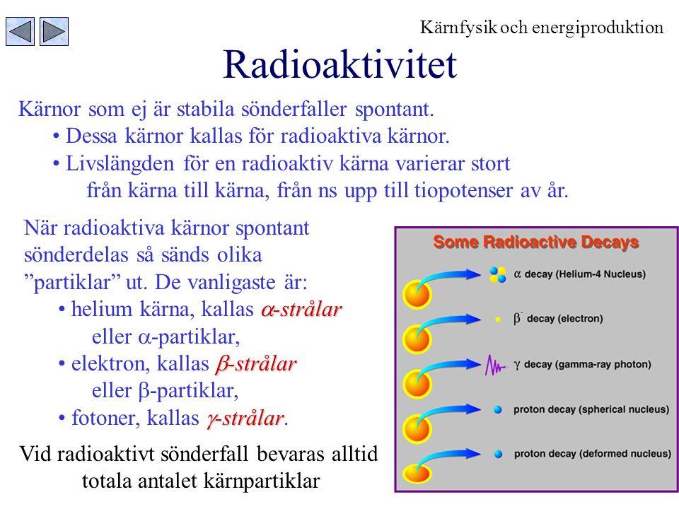 10 Radioaktivt sönderfall och halveringstid Antalet radioaktiva kärnor som finns vid en given tid t avtar exponentiellt Tiden t = T 1/2 då halva mängden sönderfallit, kallas för halveringstid.