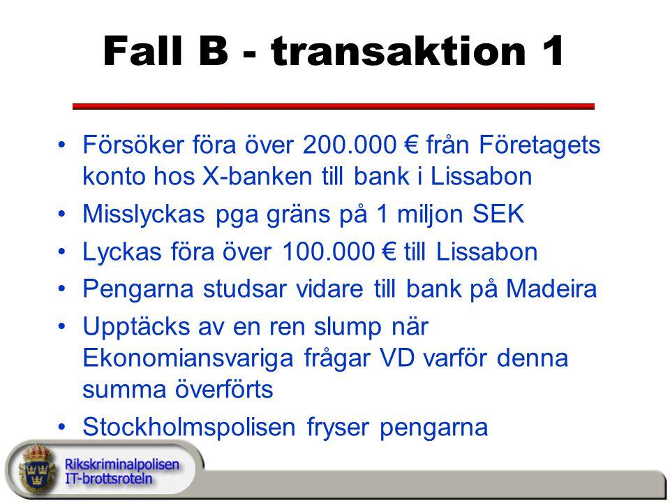 Fall B - transaktion 1 Försöker föra över 200.000 € från Företagets konto hos X-banken till bank i Lissabon Misslyckas pga gräns på 1 miljon SEK Lyckas föra över 100.000 € till Lissabon Pengarna studsar vidare till bank på Madeira Upptäcks av en ren slump när Ekonomiansvariga frågar VD varför denna summa överförts Stockholmspolisen fryser pengarna