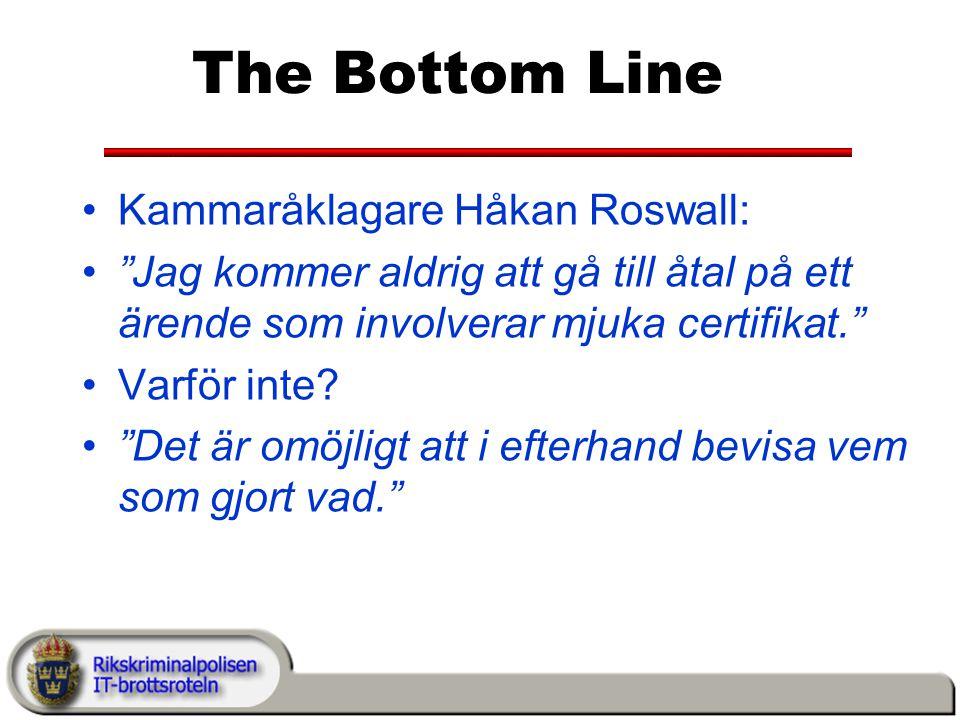 The Bottom Line Kammaråklagare Håkan Roswall: Jag kommer aldrig att gå till åtal på ett ärende som involverar mjuka certifikat. Varför inte.