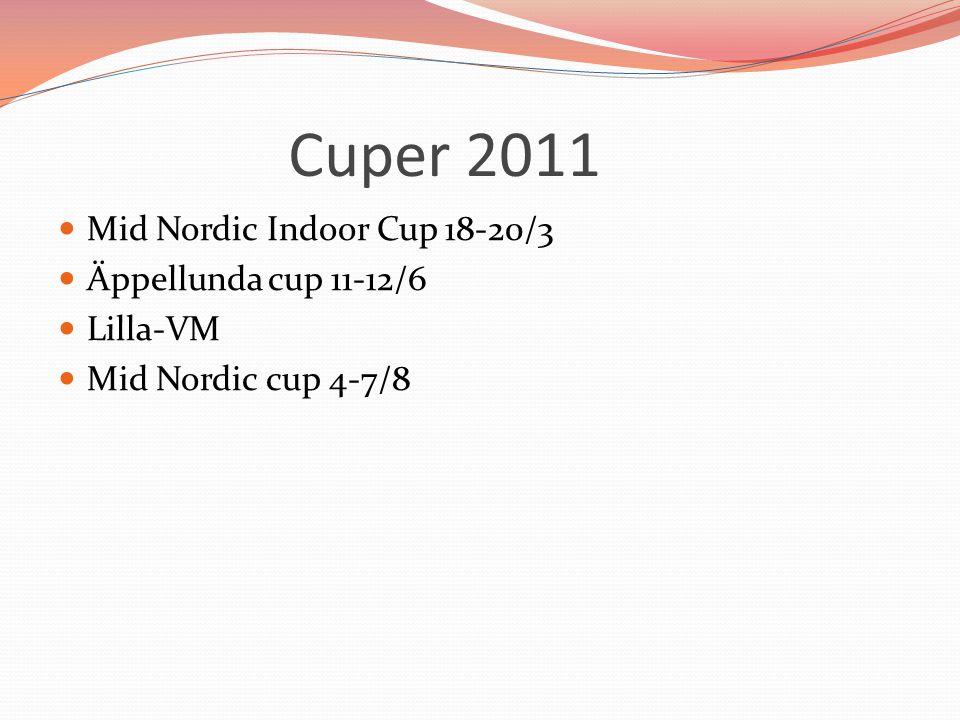 Cuper 2011 Mid Nordic Indoor Cup 18-20/3 Äppellunda cup 11-12/6 Lilla-VM Mid Nordic cup 4-7/8