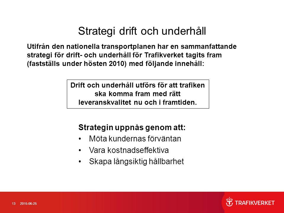 132015-06-25 Strategi drift och underhåll Strategin uppnås genom att: Möta kundernas förväntan Vara kostnadseffektiva Skapa långsiktig hållbarhet Drift och underhåll utförs för att trafiken ska komma fram med rätt leveranskvalitet nu och i framtiden.