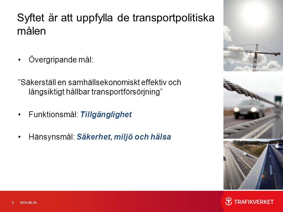 32015-06-25 Syftet är att uppfylla de transportpolitiska målen Övergripande mål: Säkerställ en samhällsekonomiskt effektiv och långsiktigt hållbar transportförsörjning Funktionsmål: Tillgänglighet Hänsynsmål: Säkerhet, miljö och hälsa