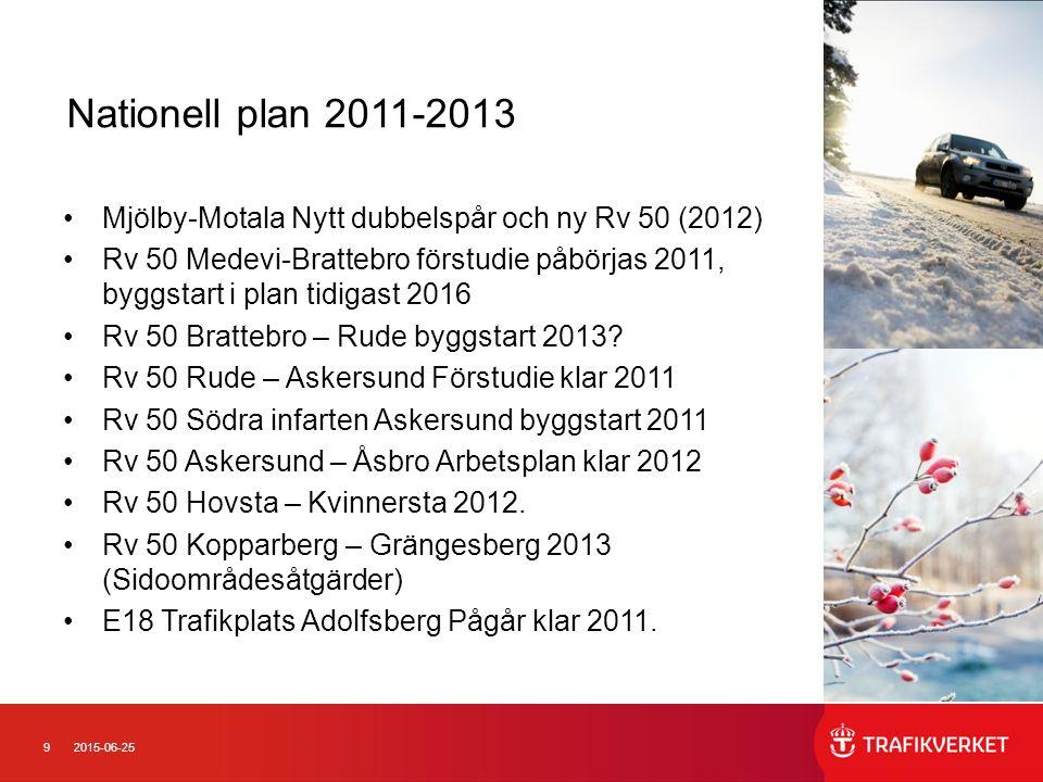 9 Nationell plan 2011-2013 Mjölby-Motala Nytt dubbelspår och ny Rv 50 (2012) Rv 50 Medevi-Brattebro förstudie påbörjas 2011, byggstart i plan tidigast