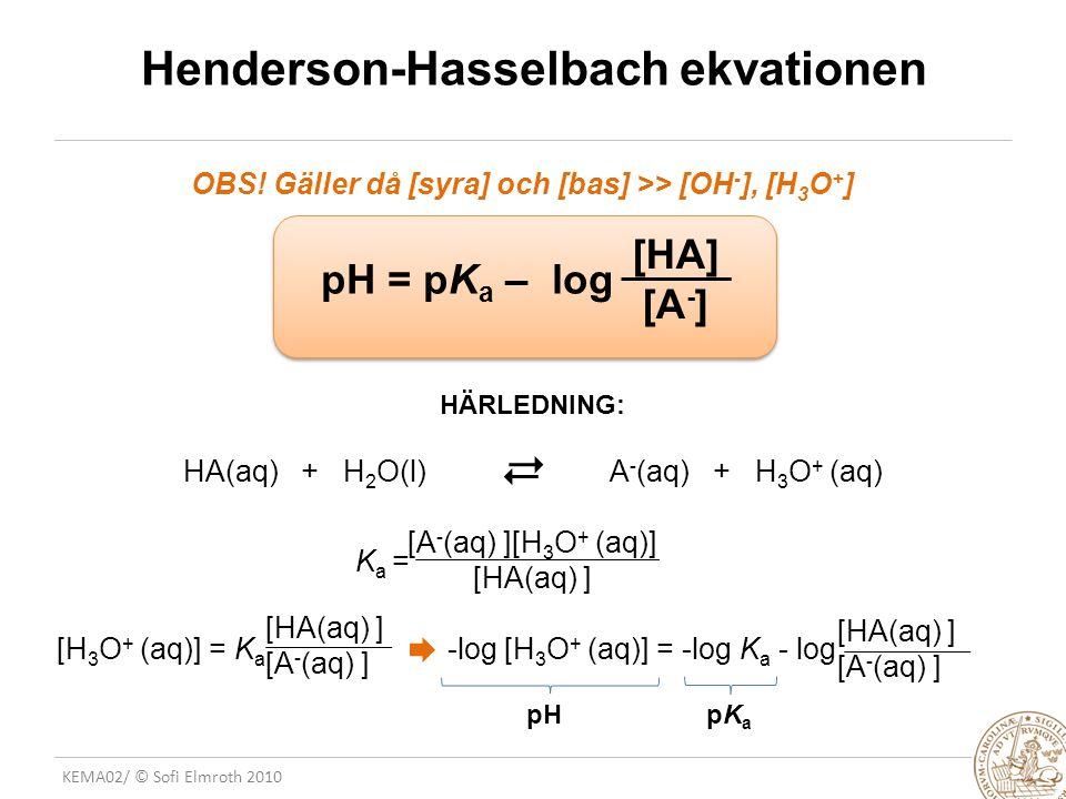 KEMA02/ © Sofi Elmroth 2010 Henderson-Hasselbach ekvationen OBS! Gäller då [syra] och [bas] >> [OH - ], [H 3 O + ] pH = pK a – log [HA] [A - ] HÄRLEDN