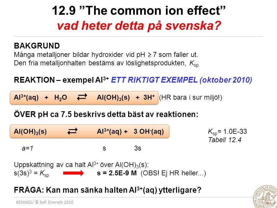 """KEMA02/ © Sofi Elmroth 2010 12.9 """"The common ion effect"""" vad heter detta på svenska? BAKGRUND Många metalljoner bildar hydroxider vid pH  7 som falle"""
