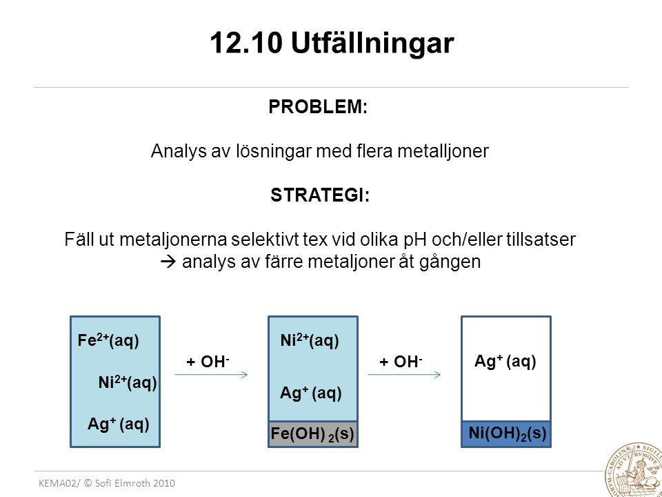 KEMA02/ © Sofi Elmroth 2010 12.10 Utfällningar PROBLEM: Analys av lösningar med flera metalljoner STRATEGI: Fäll ut metaljonerna selektivt tex vid oli