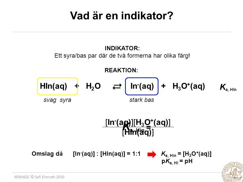 KEMA02/ © Sofi Elmroth 2010 Vad är en indikator? INDIKATOR: Ett syra/bas par där de två formerna har olika färg! REAKTION: HIn(aq) + H 2 OIn - (aq) +