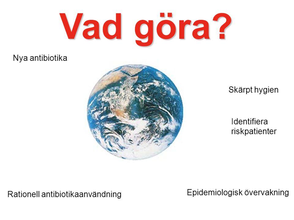 Vad göra? Nya antibiotika Rationell antibiotikaanvändning Skärpt hygien Identifiera riskpatienter Epidemiologisk övervakning