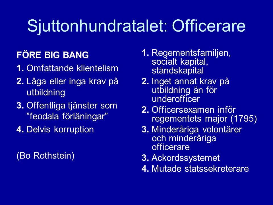 Sjuttonhundratalet: Officerare FÖRE BIG BANG 1. Omfattande klientelism 2.