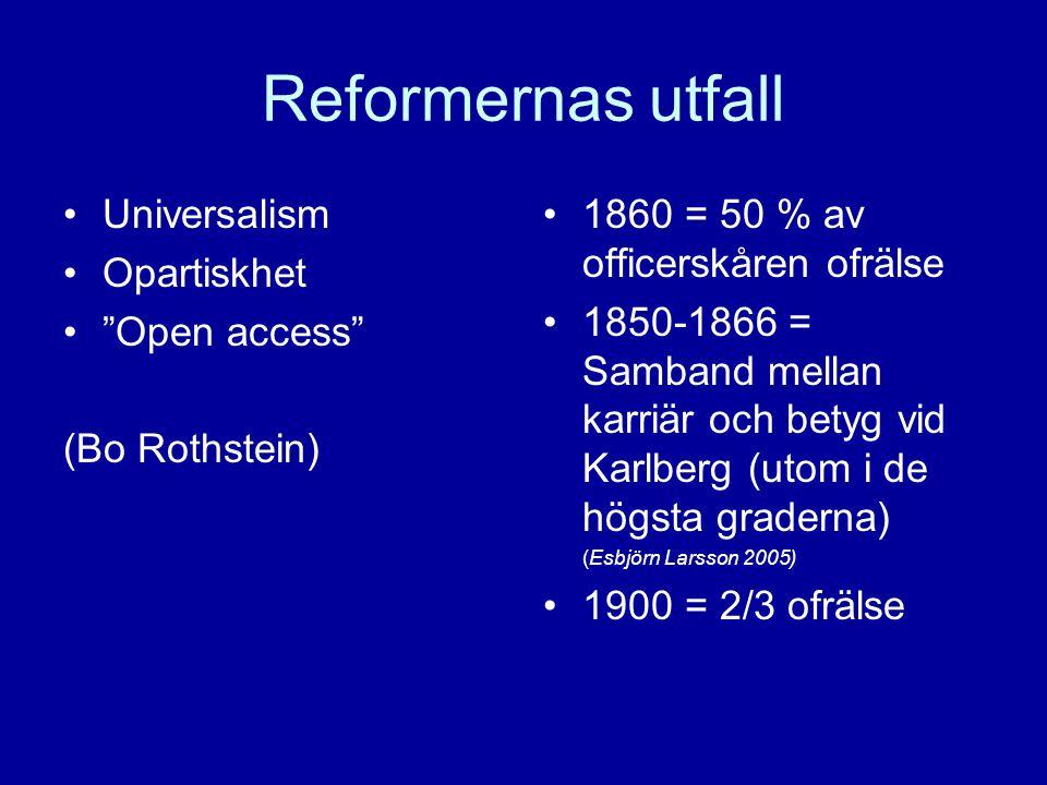 Reformernas utfall Universalism Opartiskhet Open access (Bo Rothstein) 1860 = 50 % av officerskåren ofrälse 1850-1866 = Samband mellan karriär och betyg vid Karlberg (utom i de högsta graderna) (Esbjörn Larsson 2005) 1900 = 2/3 ofrälse