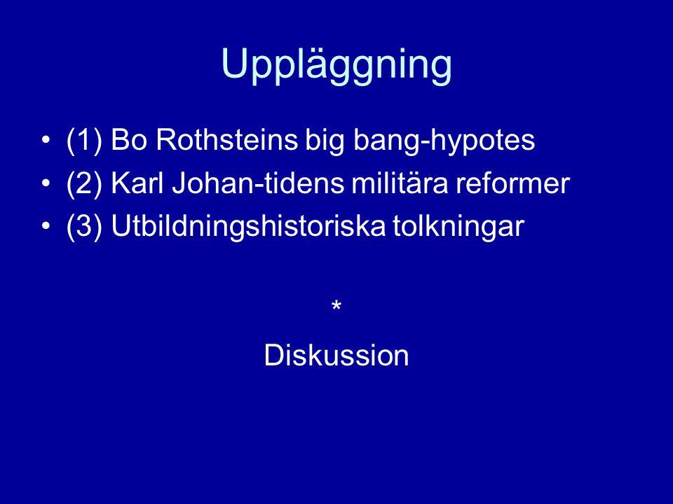 Uppläggning (1) Bo Rothsteins big bang-hypotes (2) Karl Johan-tidens militära reformer (3) Utbildningshistoriska tolkningar * Diskussion