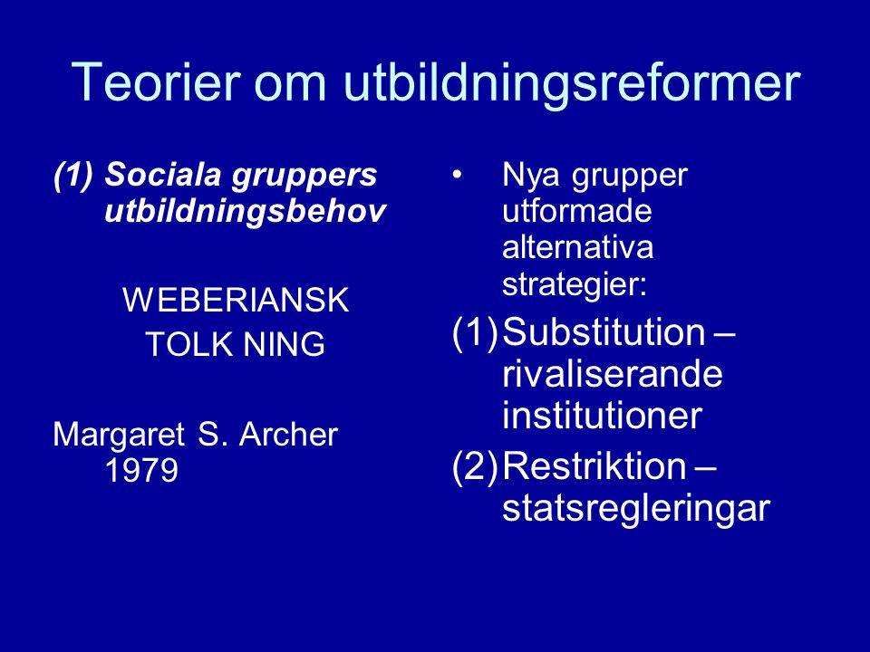 Teorier om utbildningsreformer (1)Sociala gruppers utbildningsbehov WEBERIANSK TOLK NING Margaret S.
