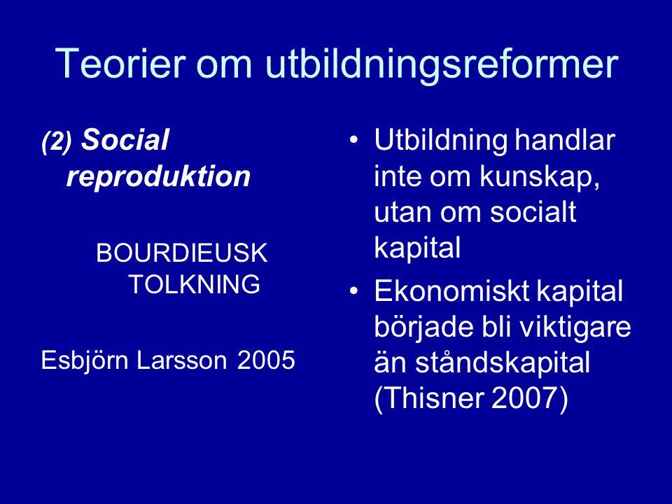 Teorier om utbildningsreformer (2) Social reproduktion BOURDIEUSK TOLKNING Esbjörn Larsson 2005 Utbildning handlar inte om kunskap, utan om socialt kapital Ekonomiskt kapital började bli viktigare än ståndskapital (Thisner 2007)