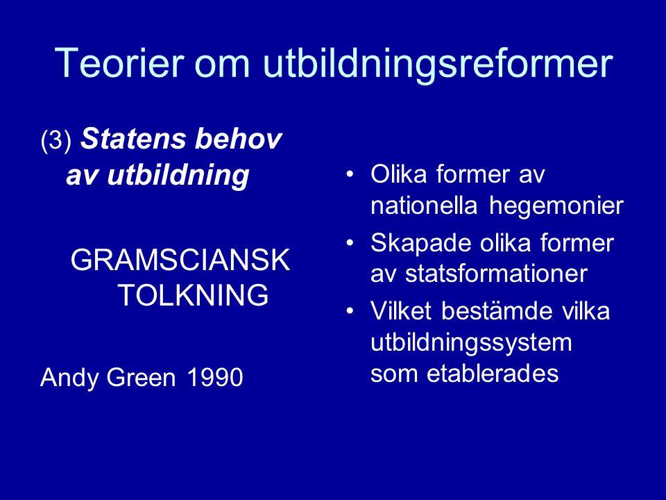 Teorier om utbildningsreformer (3) Statens behov av utbildning GRAMSCIANSK TOLKNING Andy Green 1990 Olika former av nationella hegemonier Skapade olika former av statsformationer Vilket bestämde vilka utbildningssystem som etablerades