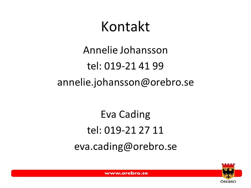 Kontakt Annelie Johansson tel: 019-21 41 99 annelie.johansson@orebro.se Eva Cading tel: 019-21 27 11 eva.cading@orebro.se