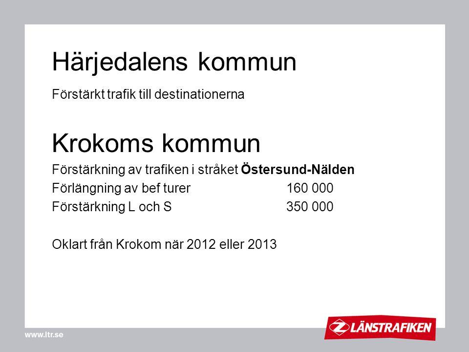 Härjedalens kommun Förstärkt trafik till destinationerna Krokoms kommun Förstärkning av trafiken i stråket Östersund-Nälden Förlängning av bef turer16