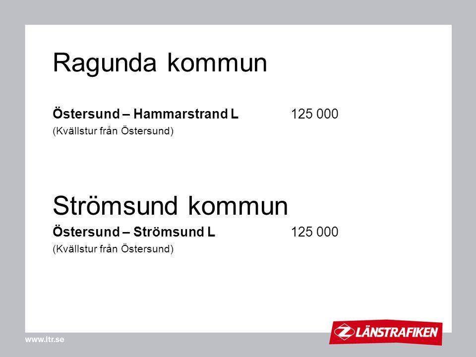 Ragunda kommun Östersund – Hammarstrand L125 000 (Kvällstur från Östersund) Strömsund kommun Östersund – Strömsund L125 000 (Kvällstur från Östersund)