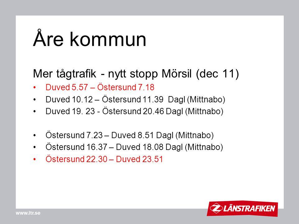 Åre kommun Mer tågtrafik - nytt stopp Mörsil (dec 11) Duved 5.57 – Östersund 7.18 Duved 10.12 – Östersund 11.39 Dagl (Mittnabo) Duved 19. 23 - Östersu
