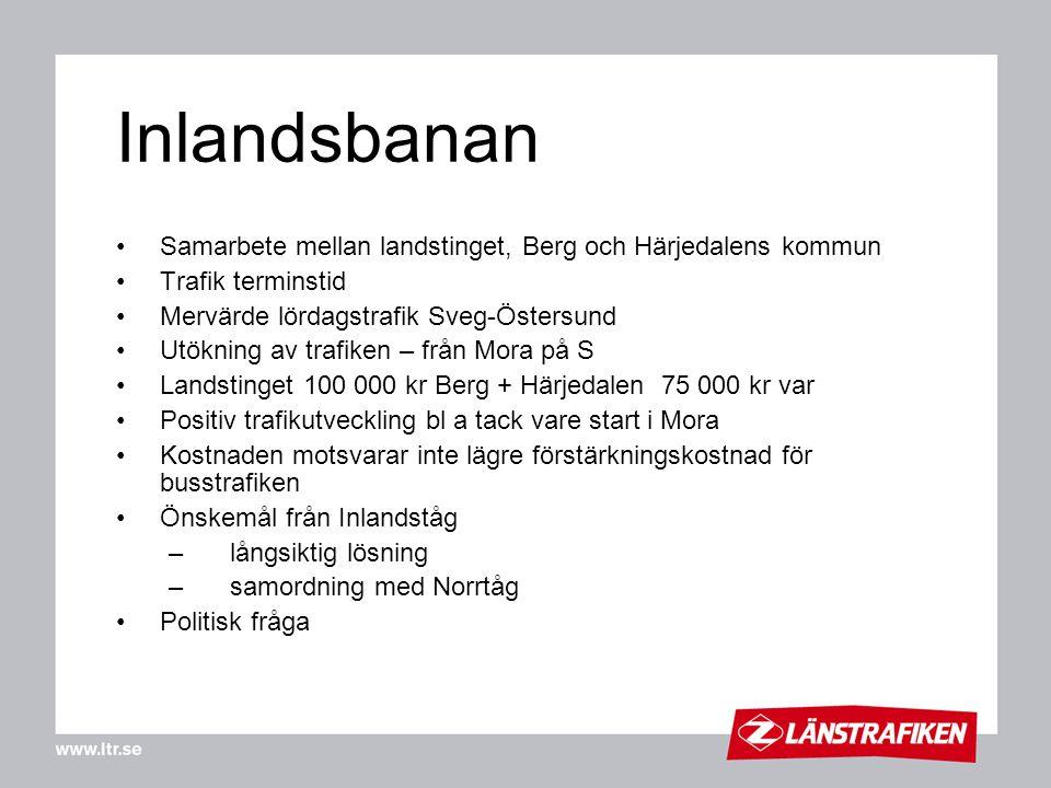 Inlandsbanan Samarbete mellan landstinget, Berg och Härjedalens kommun Trafik terminstid Mervärde lördagstrafik Sveg-Östersund Utökning av trafiken –
