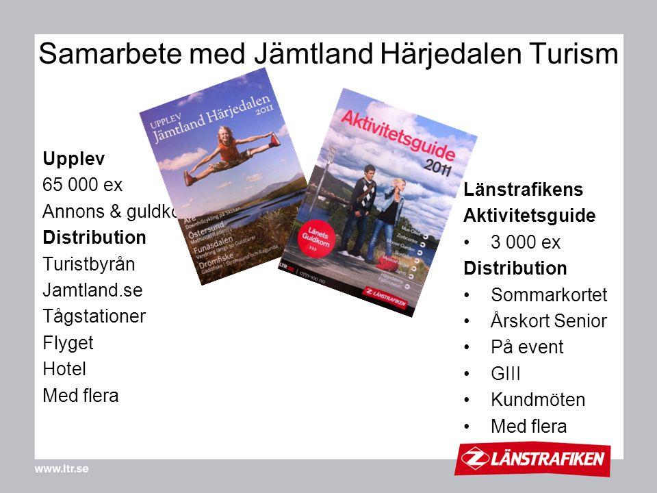 Upplev 65 000 ex Annons & guldkorn Distribution Turistbyrån Jamtland.se Tågstationer Flyget Hotel Med flera Samarbete med Jämtland Härjedalen Turism L