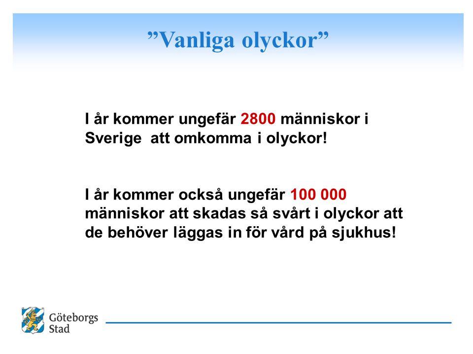 """""""Vanliga olyckor"""" I år kommer ungefär 2800 människor i Sverige att omkomma i olyckor! I år kommer också ungefär 100 000 människor att skadas så svårt"""