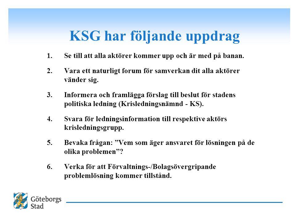 KSG har följande uppdrag 1.Se till att alla aktörer kommer upp och är med på banan. 2.Vara ett naturligt forum för samverkan dit alla aktörer vänder s