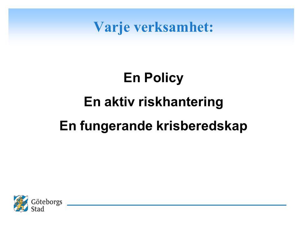 Varje verksamhet: En Policy En aktiv riskhantering En fungerande krisberedskap