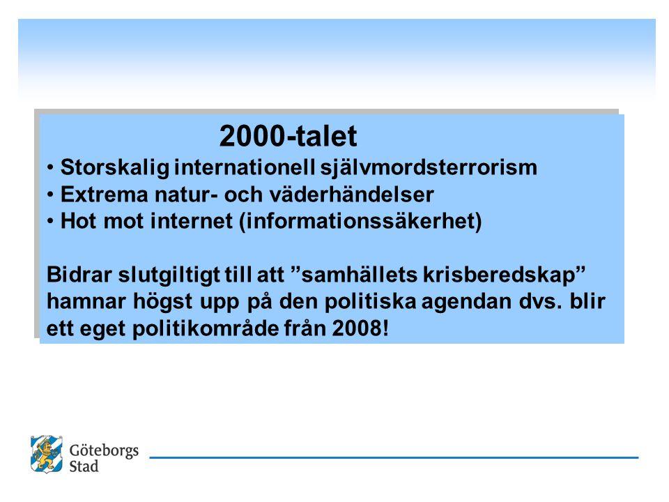 2000-talet Storskalig internationell självmordsterrorism Extrema natur- och väderhändelser Hot mot internet (informationssäkerhet) Bidrar slutgiltigt