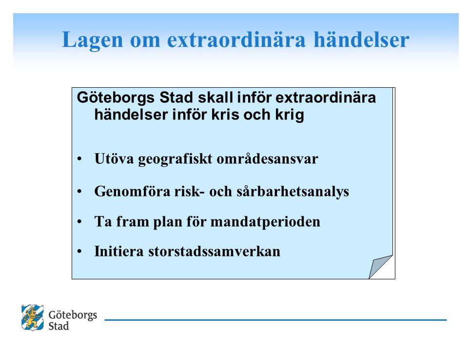 Göteborgs Stad skall inför extraordinära händelser inför kris och krig Utöva geografiskt områdesansvar Genomföra risk- och sårbarhetsanalys Ta fram pl