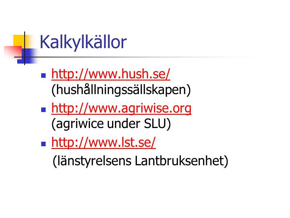 Kalkylkällor http://www.hush.se/ (hushållningssällskapen) http://www.hush.se/ http://www.agriwise.org (agriwice under SLU) http://www.agriwise.org http://www.lst.se/ (länstyrelsens Lantbruksenhet)