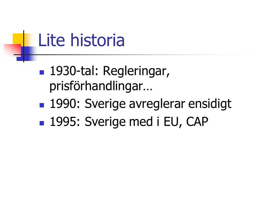 Lite historia 1930-tal: Regleringar, prisförhandlingar… 1990: Sverige avreglerar ensidigt 1995: Sverige med i EU, CAP