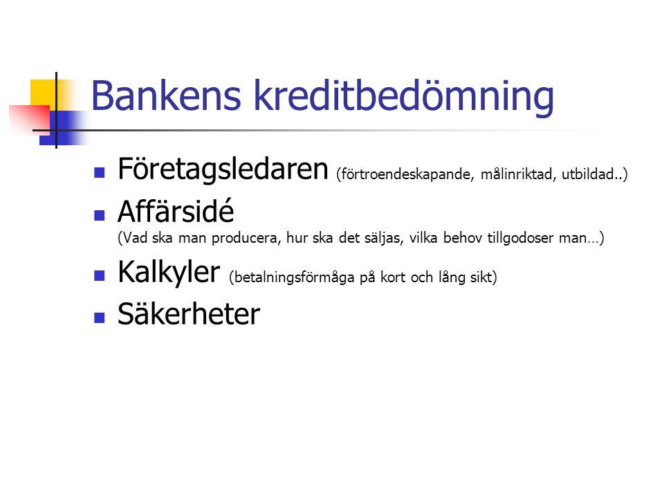 Bankens kreditbedömning Företagsledaren (förtroendeskapande, målinriktad, utbildad..) Affärsidé (Vad ska man producera, hur ska det säljas, vilka behov tillgodoser man…) Kalkyler (betalningsförmåga på kort och lång sikt) Säkerheter
