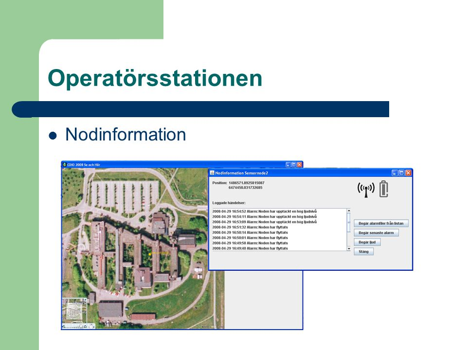 Operatörsstationen Nodinformation