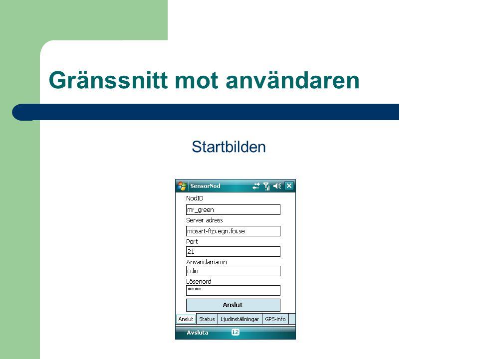 Gränssnitt mot användaren Startbilden