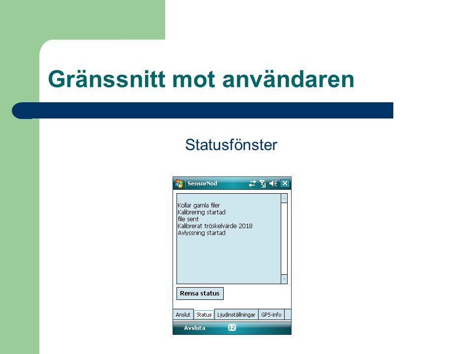 Gränssnitt mot användaren Statusfönster
