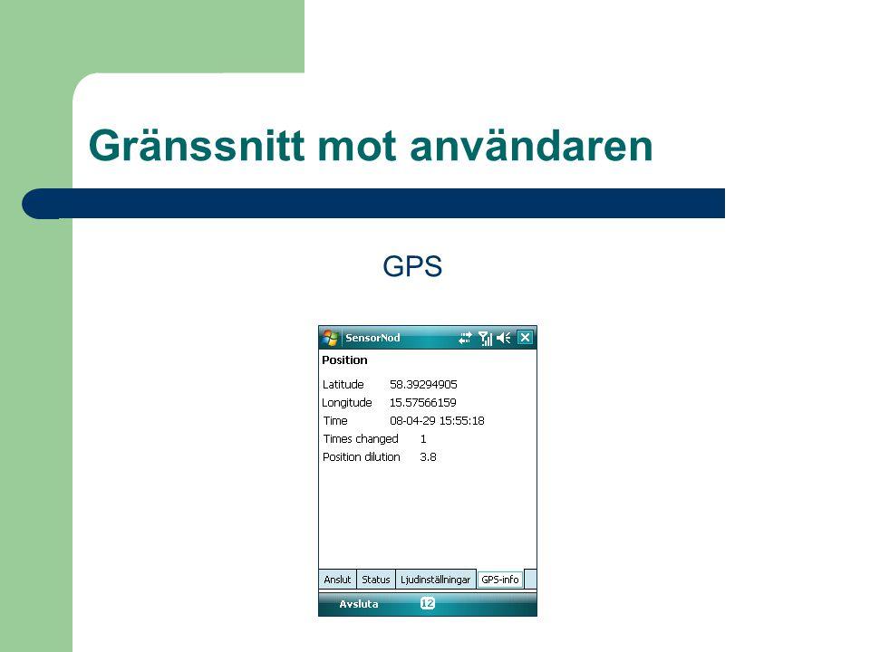 GPS Gränssnitt mot användaren