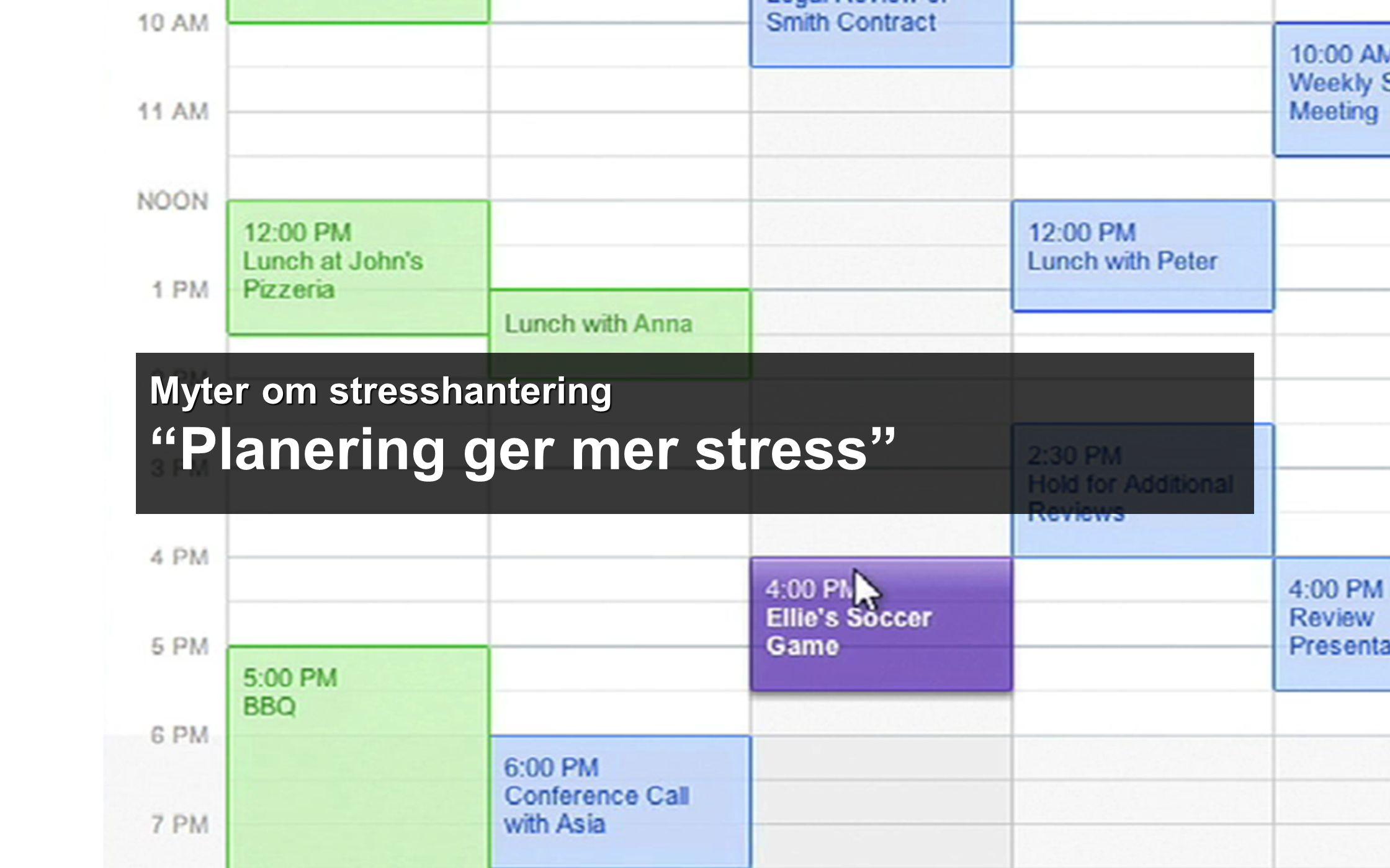 Myter om stresshantering Myter om stresshantering Planering ger mer stress