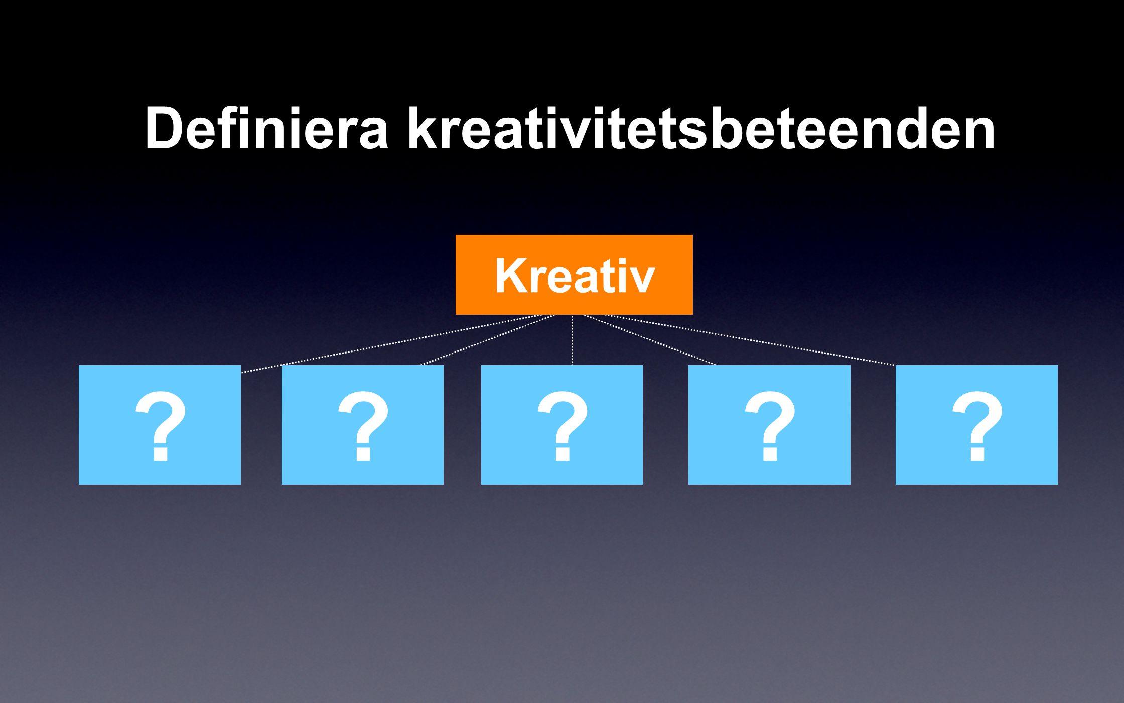 ????? Kreativ Definiera kreativitetsbeteenden