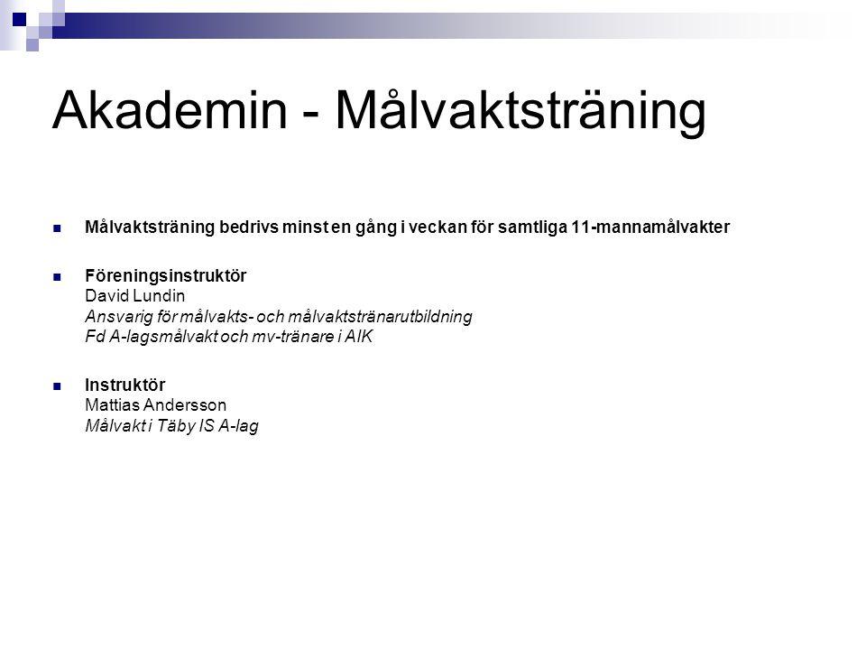 Akademin - Målvaktsträning Målvaktsträning bedrivs minst en gång i veckan för samtliga 11-mannamålvakter Föreningsinstruktör David Lundin Ansvarig för målvakts- och målvaktstränarutbildning Fd A-lagsmålvakt och mv-tränare i AIK Instruktör Mattias Andersson Målvakt i Täby IS A-lag