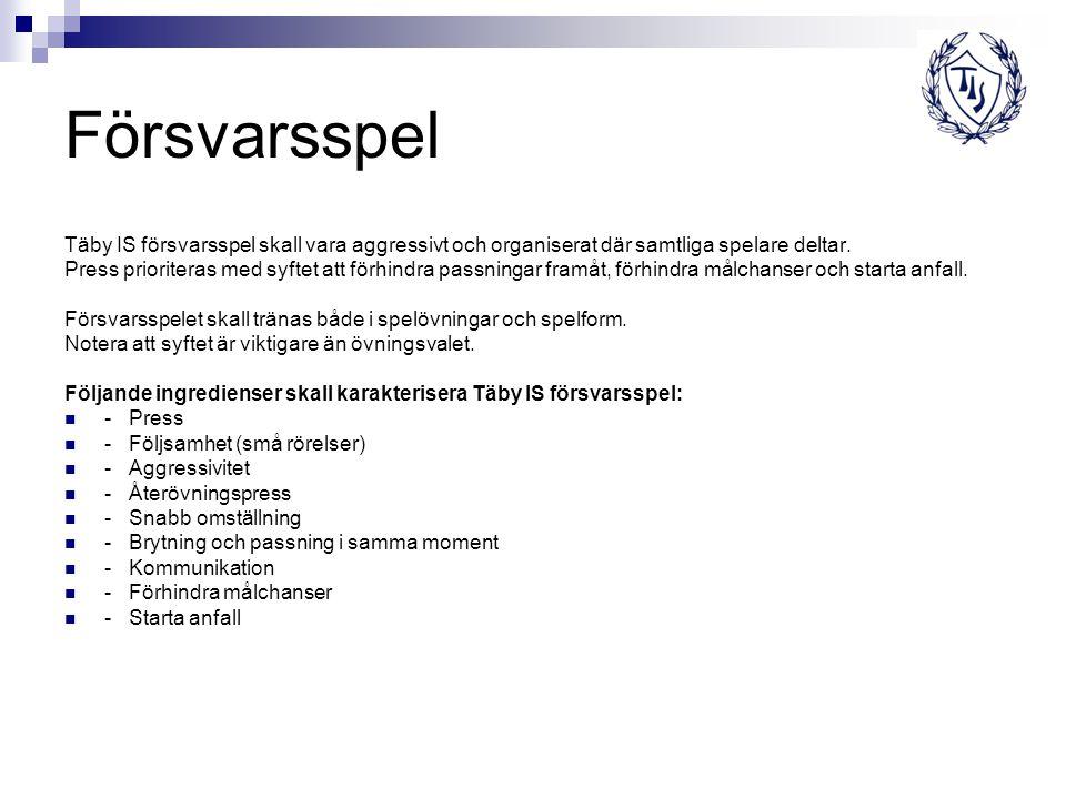 Försvarsspel Täby IS försvarsspel skall vara aggressivt och organiserat där samtliga spelare deltar.